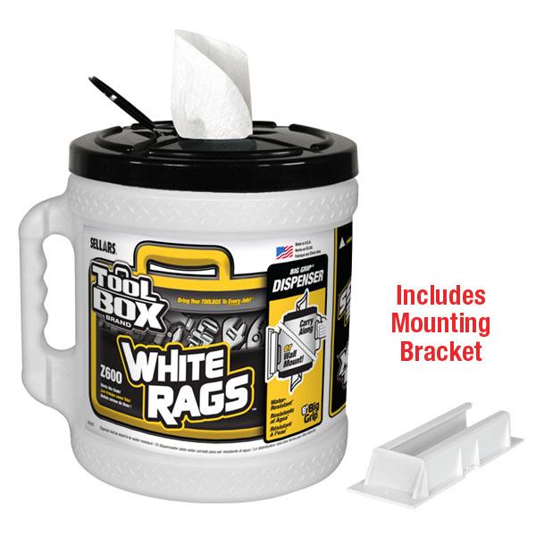 Sellars TOOLBOX Z600 Big Grip White Rags Dispenser with mounting bracket