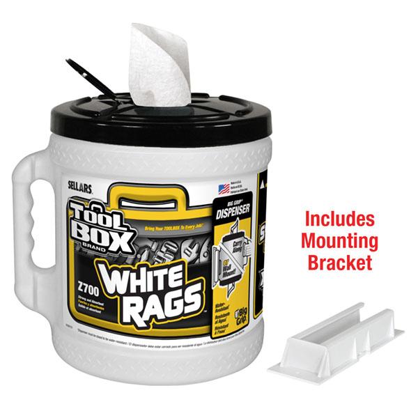 Big grip white rags dispenser with mounting bracket