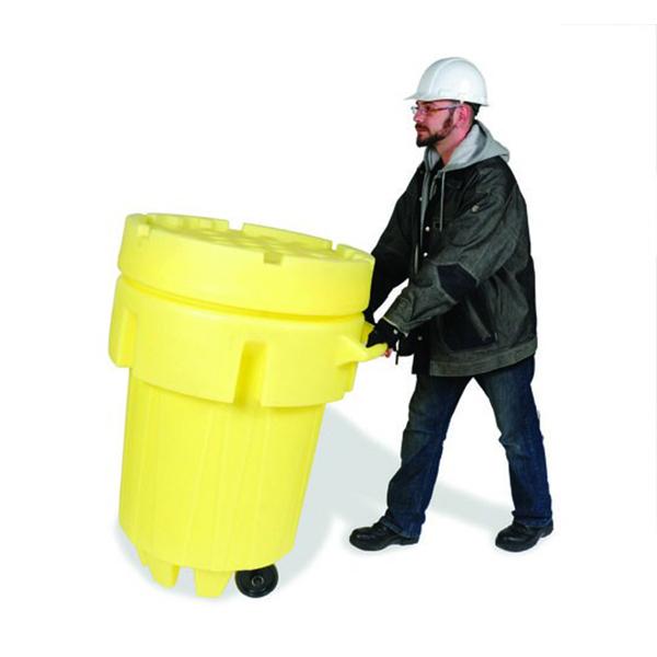 Man pushing Sellars 95-gallon wheeled overpack