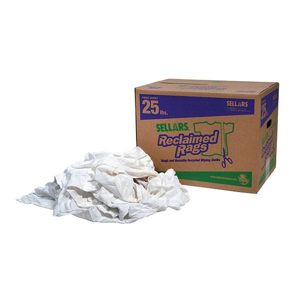 25 lbs box of Sellars Reclaimed Pure White Rags
