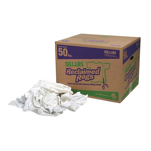 50lbs box of Sellars Reclaimed Pure White Rags