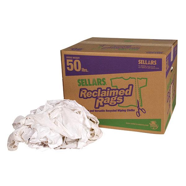 Sellars 50lbs box of reclaimed white knit t-shirt rags